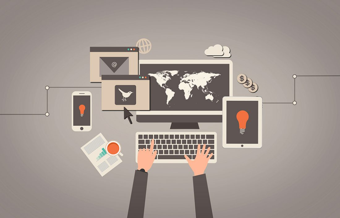 Entrepreneur using laptop and other devices